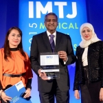 Judges of Sanjiv Malik Lifetime Award: Joyce Socao-Alumno, Dato' Dr Jacob Thomas, President of the Association of Private Hospitals of Malaysia,  and Laila Aljassmi collecting on the behalf of Mr. Josef Woodman.