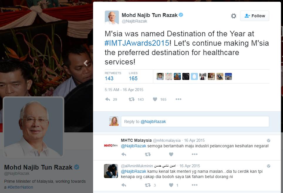 Mohd Najib Tun Razak @NajibRazak Prime Minister of Malaysia tweets about Malaysia's win